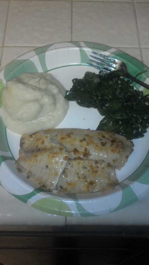 Garlic Mashed Cauliflower, Wilted Spinach, Chicken Breast.