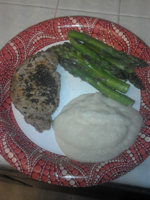 Pork Loin, Asparagus and Mashed Cauliflower.