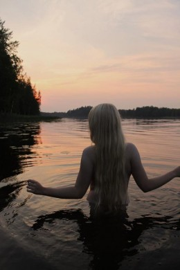 Aino in the Finnish Saga. She drowns herself rather than be married off to an elderly hero.