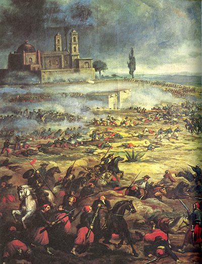 The Battle of Puebla, May 5, 1862. Mexican forces are victorious over the invading French.