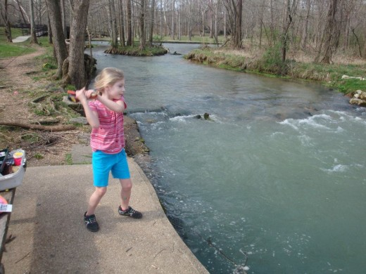 My five year old granddaughter cast her line at the same place I used to fish with my grandfather, and later my daughter.