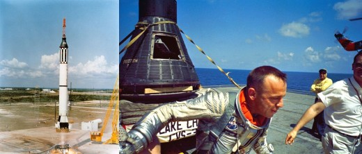 Launch of the Mercury-Redstone 3 with Freedom 7 capsule and astronaut Alan B. Shepard, Jr. Launch image: http://commons.wikimedia.org/wiki/File:Mercury_3.jpg