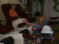 Getting a pedicure.