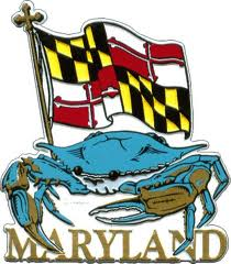 Maryland! With a blue crab, fridge magnet.
