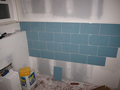 Create a colorful backsplash with inexpensive tile from the home center.
