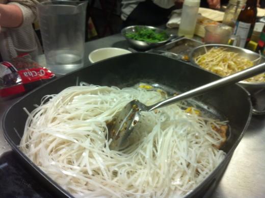 Rice stick noodles, uncooked