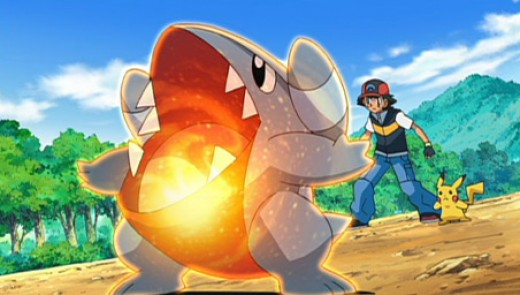 Ash, Pikachu and Gible