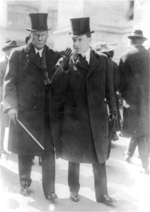 John D. Rockefeller, Sr. and Jr. in 1915, two years after income tax, the Federal Reserve and the Rockefeller Foundation were started. The beginning of the end of the world as we know it.