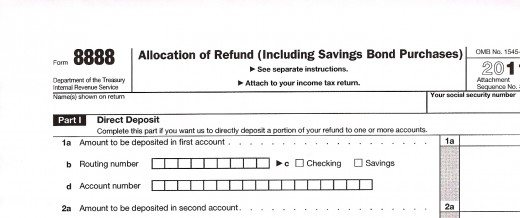 Form 8888 Allocation of Refund (Including Savings bond Purchases)