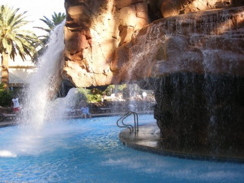 The gorgeous water fall at the pool at the Mirage.