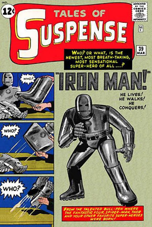 Iron Man's debut: Tales of Suspense #39. Cover: Jack Kirby. Story: Stan Lee and Don Heck.
