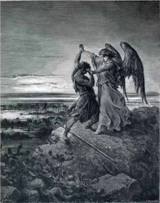 """Jacob Wrestling the Angel,"" by Gustave Dore (1855) ."