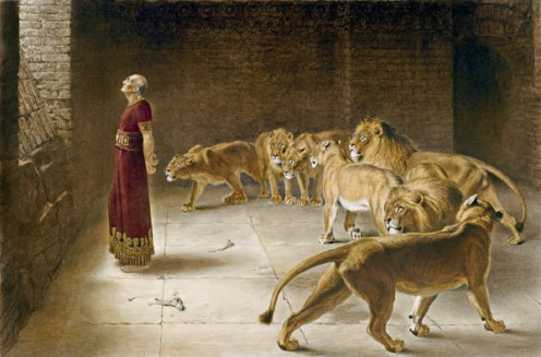 "A depiction of Daniel called ""Daniel in the Lion's Den,"" by Briton Riviere."