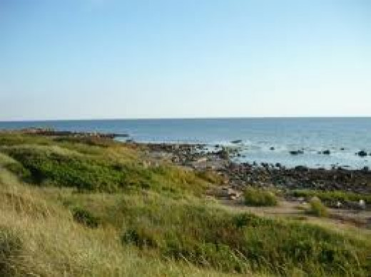 The coast of Halland, east from Sjaelland across the sea