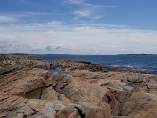 Another part of Halland's coastline, rough rocky outcrops that spell danger to shipping at high tide