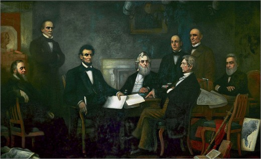 Lincoln's Cabinet 1864, Shown from left to right are Edwin McMasters Stanton, secretary of war (seated); Salmon Portland Chase, secretary of the treasury (standing); Lincoln; Gideon Welles, secretary of the navy (seated); Caleb Blood Smith, secretary
