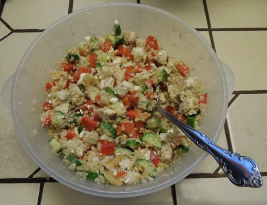 This is the second day for this Quinoa Chicken Salad, so the bowl is only about two-thirds full now. We love it.