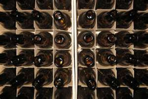 beer cases ready to be returned to the beer distributor