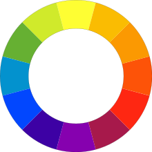 Find a complementary colour on the colour wheel by looking at the colour directly opposite in position.