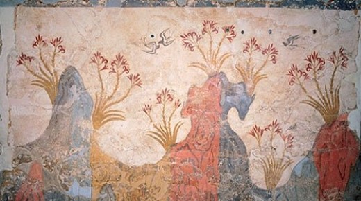 An ancient fresco of a spring landscape found in the excavations of bronze-age Akrotiri, Santorini, Greece.