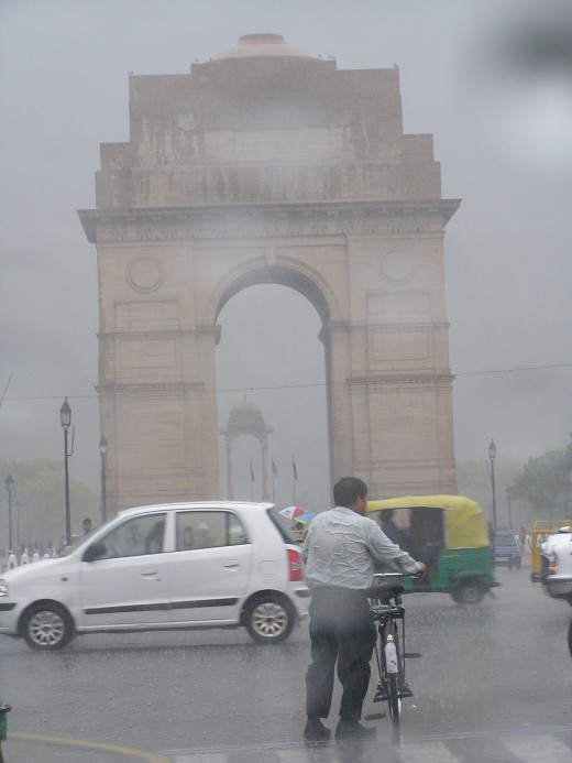 India Gate on a rainy day