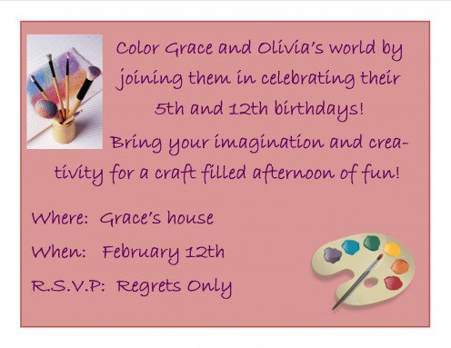 Here is a sample invitation that I created for our celebration.