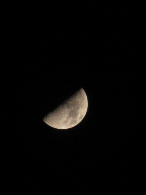 This is a photograph of the Moon taken March 30, 2012, with the shadow coming from the 10 o'clock position.