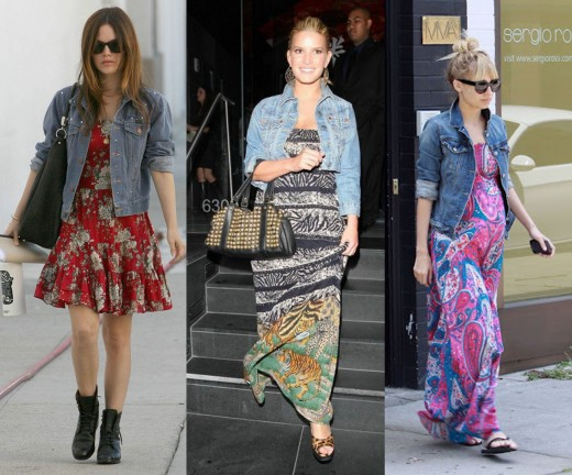 Rachel Bilson, Jessica Simpson and Nicole Richie with denim jacket and floral dress.