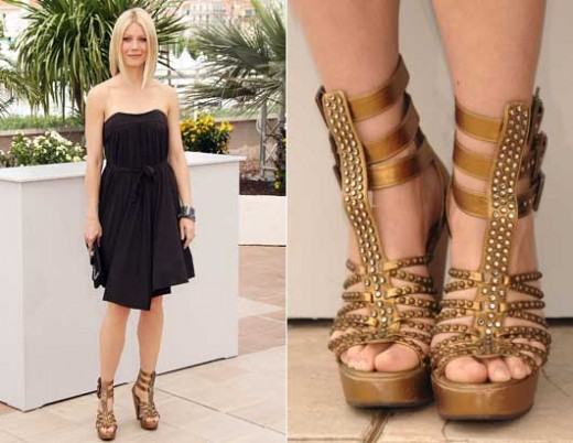 Gwyneth Paltrow's gold gladiator wedge sandals