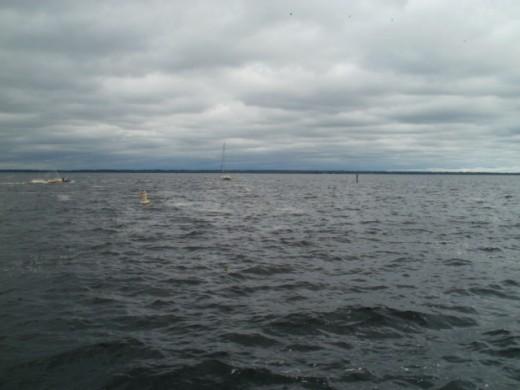 Lake Monroe, Sanford FL.  The wind rippling the lake.