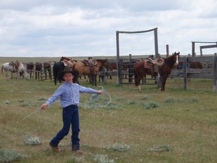 Young cowboy practicing roping