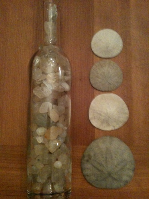 Jar of Beach Agates and a Few Sand Dollars