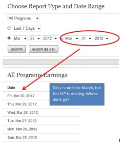 My Hubpages earnings report shows nothing for March 31st. What gives?