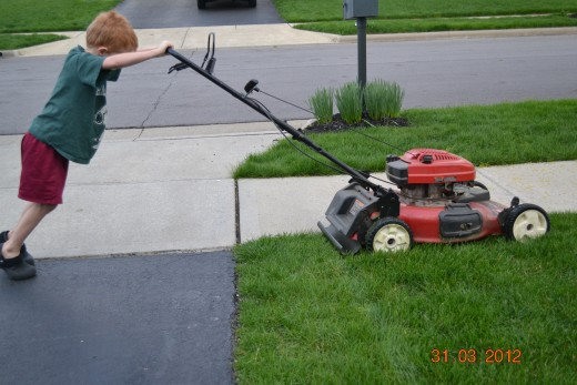 Son Learning to Mow