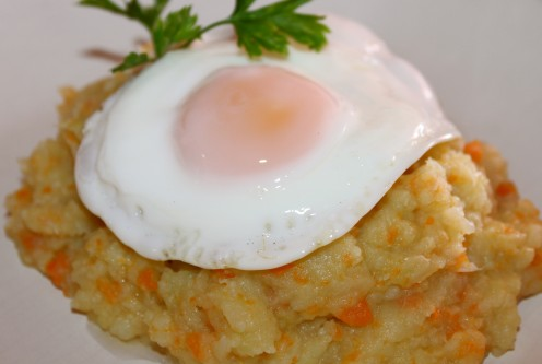 Vegetable Mash Topped With A Fried Egg