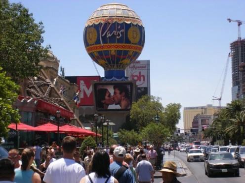 Lots of people walking the Vegas Strip.