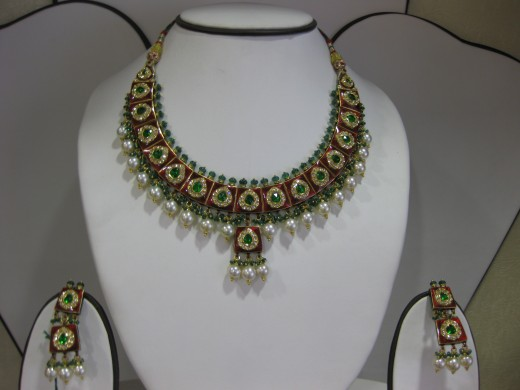 Kundan Meena Jadau Necklace Chandrahar and Earing