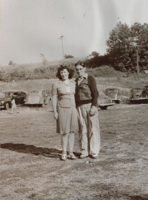 Mom and Dad c. 1940 probably near Saratoga Lake, NY