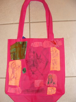 An example of a decorated bag that can be used to take home crafts and party favors.