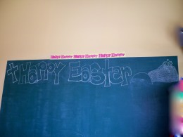 This grandmama had her hair cut at a children's salon and it was a lovely surprise to find this Easter greeting on the wall!