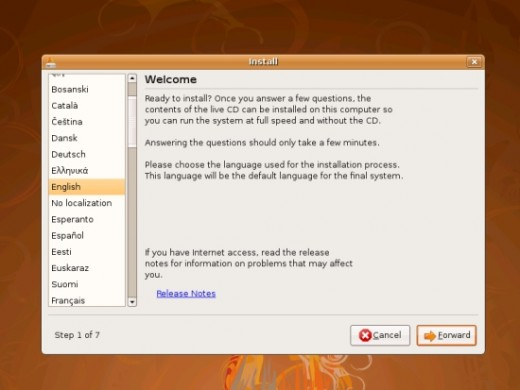 Ubuntu Welcome Screen