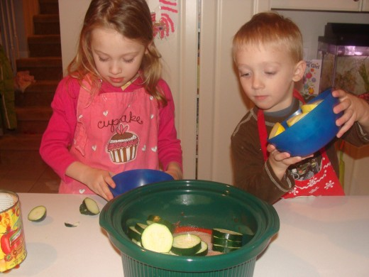 Have the kids add the vegetables.
