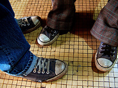 DIRTY SNEAKERS ARE SURE SIGNS THAT THE PERSON WEARING THEM SURELY DON'T CARE ABOUT HOW THEIR FEET LOOK IN PUBLIC.