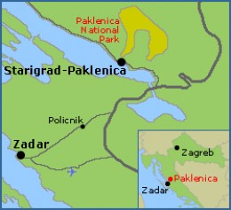 The map of Paklenica National Park in relation to the whole of Croatia.  It's about an hour's drive north east from Zadar.