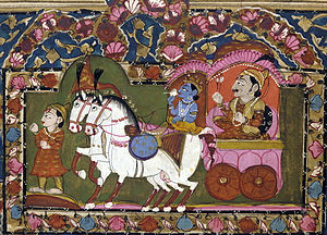 BHAGAVAD GITA - Krishna and Arjuna at Kurukshetra, 18th–19th century painting