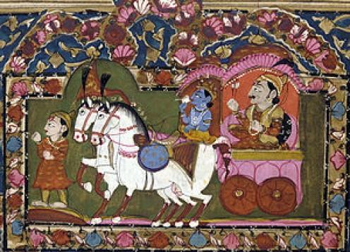 BHAGAVAD GITA - Krishna and Arjuna at Kurukshetra, 18th–19th century painting