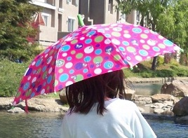 I carry an umbrella or a hat wherever I go to help protect my skin from the sun.