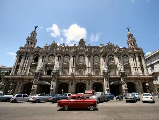 The Great Theatre of Havana (Gran Teatro de La Habana) and a Ford Consul.