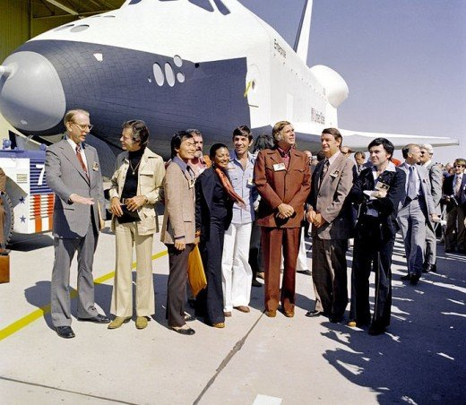 Cast members of the Star Trek television series on hand as the Space Shuttle Enterprise is readied for service.