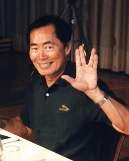 Actor, George Takei (Star Trek's original Ensign Sulu), giving the Vulcan salute -- live long and prosper.
